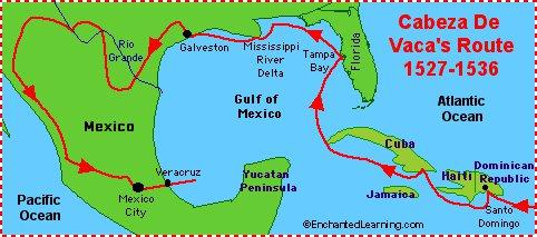 Route  Cabeza de Vaca 1528-1536